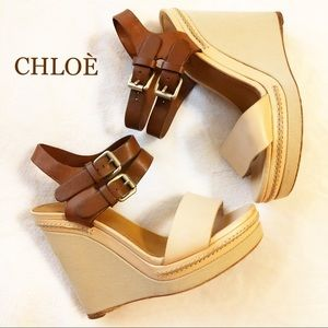 CHLOE LEATHER WEDGES